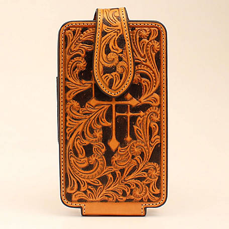 Nocona Cell Case Large 3 Cross Embossed Tan
