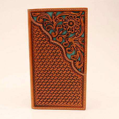 Nocona Rodeo Wallet Basket Weave Turquoise