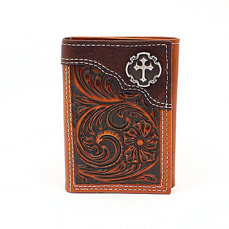 Nocona Trifold Wallet Floral Embssed with Cross Tan