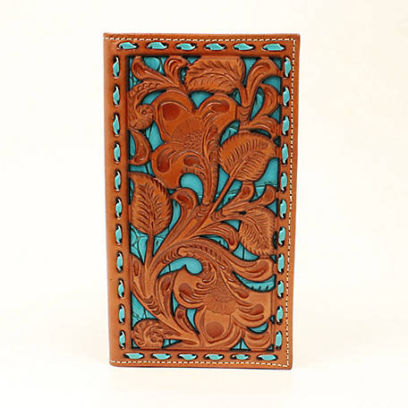Nocona Rodeo Wallet Embossed Underlay Tan/Turquoise