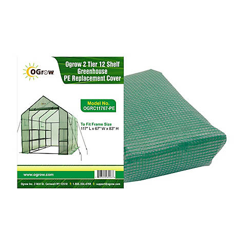 Ogrow 2-Tier, 12 Shelf Greenhouse Polyethylene Replacement Cover Frame Size 117, OGRC11767-PE