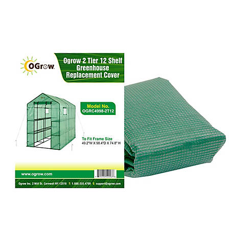 Ogrow 2-Tier 12 Sheff Greenhouse Polyethylene Replacement Cover Frame Size 49.2, OGRC4998-2T12