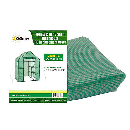 Ogrow 2-Tier, 8 Shelf Greenhouse Polyethylene Replacement Cover Frame Size 77, OGRC6868-PE