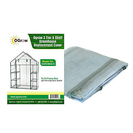Ogrow 3-Tier, 6 Shelf Greenhouse Replacement Cover, OGRC6834-S