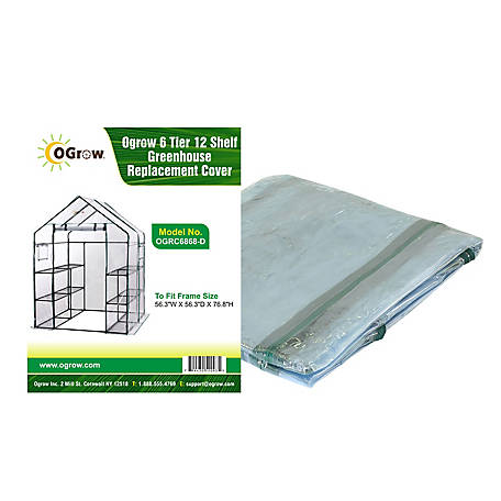 Ogrow 6-Tier, 12 Shelf Greenhouse Replacement Cover, OGRC6868-D