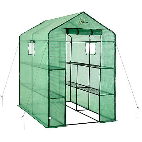 Ogrow Large Heavy Duty Walk-In 2-Tier 8-Shelf Greenhouse, OG4979-2T8