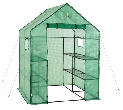 Ogrow Deluxe Walk-In Backyard Greenhouse, 2 Tier, 8 Shelf, Anchors Included, OG6868-PE