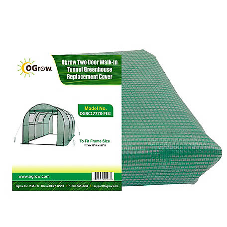 Ogrow Tunnel Greenhouse Replacement Cover, 2 Door, OGRC17778-PEG