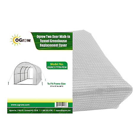 Ogrow Tunnel Greenhouse Replacecover-2 Door-W, OGRC17778-PEW