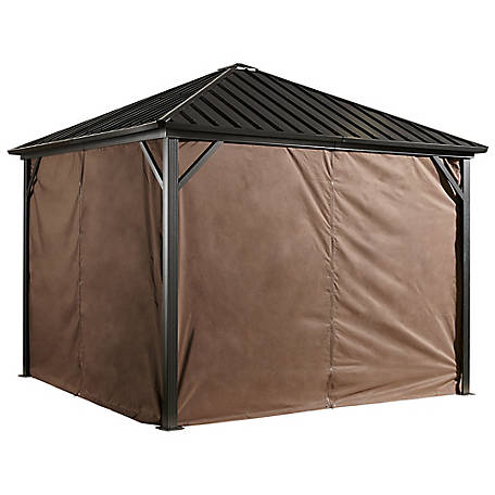 Sojag Curtains Dakota 10 x 10 ft. Brown Gazebo, 135-9157369