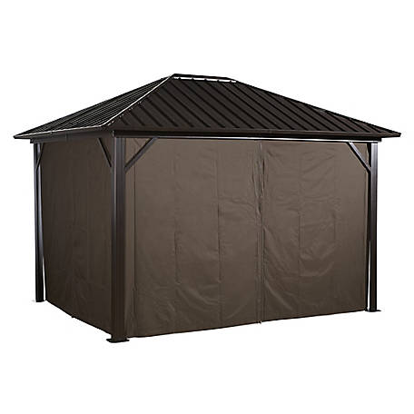 Sojag Curtains Genova 12 x 12 ft. Brown Gazebo, 135-9163896