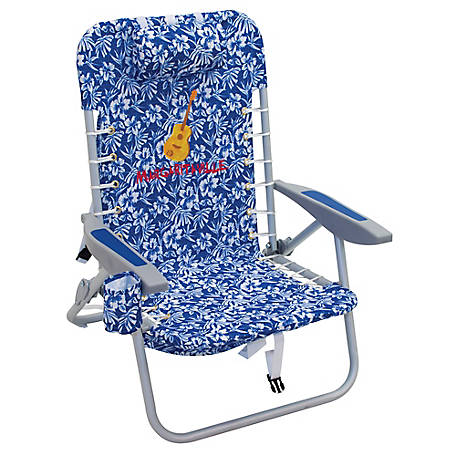 Margaritaville 4-Position Backpack Beach Chair, Blue Floral, SC529MV-505-1