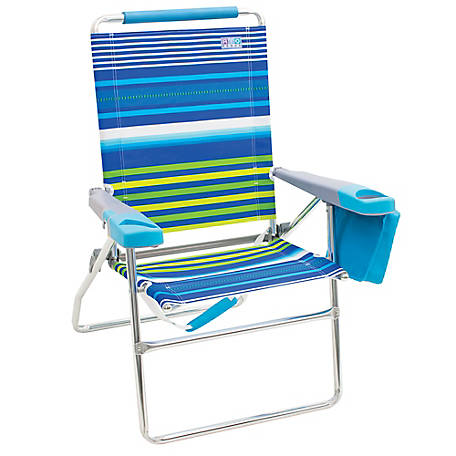 RIO Beach 4 Position 17 in. Tall Beach Chair, Stripe, SC617-1911-1
