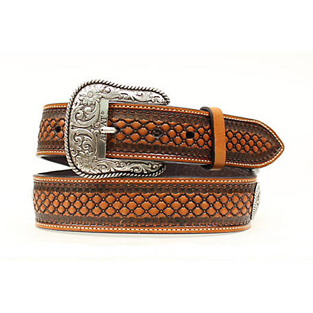 Ariat Men's Basket Weave Conch Belt, Natural A1013248