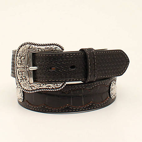 Ariat Men's Basket Weave Croc Inlay Belt, Black A1035401