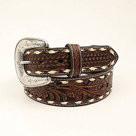 Ariat Men's Floral Embossed Lace Belt, Brown A1033002