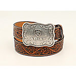 Ariat Men's Embossed Buckle, Black/Tan A1020467