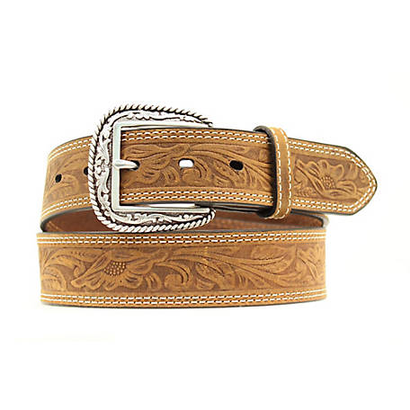 Ariat Men's Tooled Double Stitch Belt, Brown A1012402
