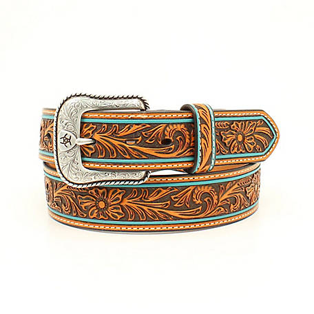 Ariat Men's Floral Embossed Turquoise Edges Belt, Tan A1027808