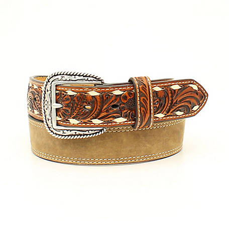 Ariat Men's Floral Ivory Lacing Tabs Belt, Medium Brown A1028044