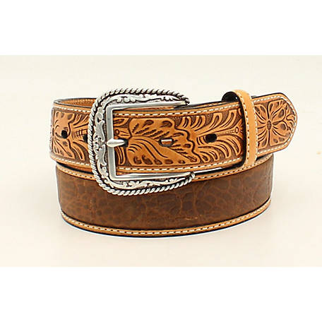 Ariat Men's Croco Floral Tabs Belt, Tan A1022008