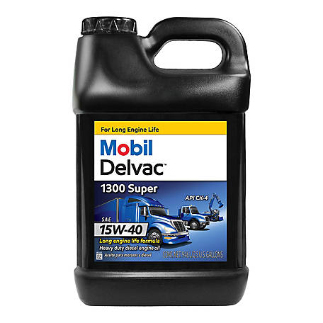 Mobil Delvac 1300 Super Heavy Duty Synthetic Blend Diesel Engine Oil 15W-40, 2.5 Gal, 122493