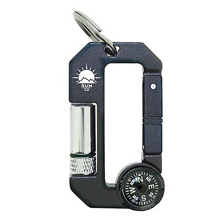 Sun Company HikeHitch 3 - LED Flashlight & Compass Carabiner, 1603
