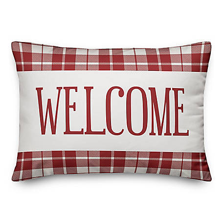 Designs Direct Red Plaid Welcome 14 x 20 in. Throw Pillow 5522-R