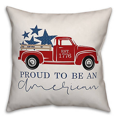 Designs Direct Proud American Truck 18 x 18 in. Throw Pillow 5522-AS