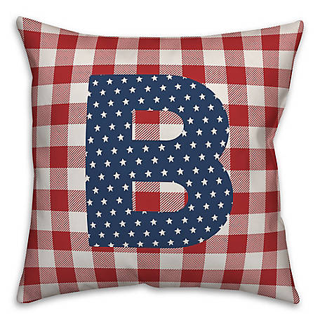 Designs Direct Check Monogram, B, 18 x 18 Indoor/Outdoor Throw Pillow 5524-Y2