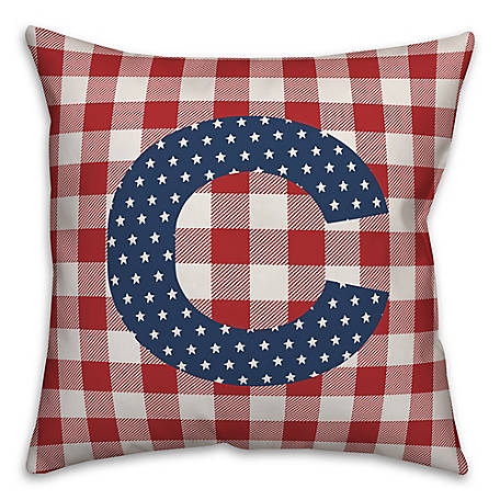 Designs Direct Check Monogram, C, 18 x 18 Indoor/Outdoor Throw Pillow 5524-Y3