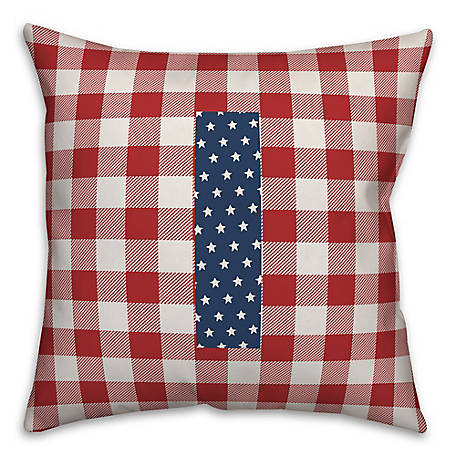 Designs Direct Check Monogram, I, 18 x 18 Indoor/Outdoor Throw Pillow 5524-Y9