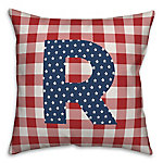 Designs Direct Check Monogram, R, 18 x 18 Indoor/Outdoor Throw Pillow 5524-Y18