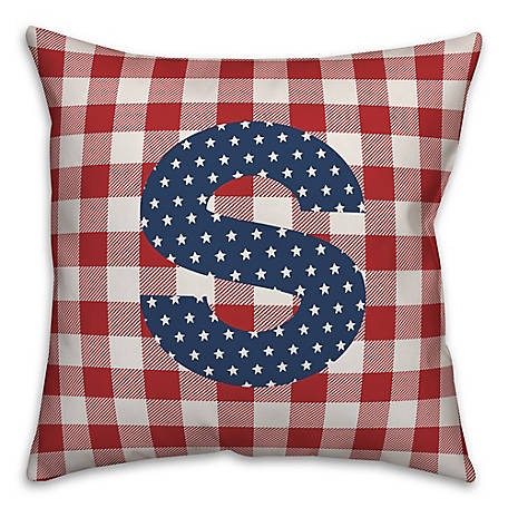 Designs Direct Check Monogram, S, 18 x 18 Indoor/Outdoor Throw Pillow 5524-Y19