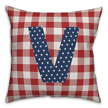 Designs Direct Check Monogram, V, 18 x 18 Indoor/Outdoor Throw Pillow 5524-Y22