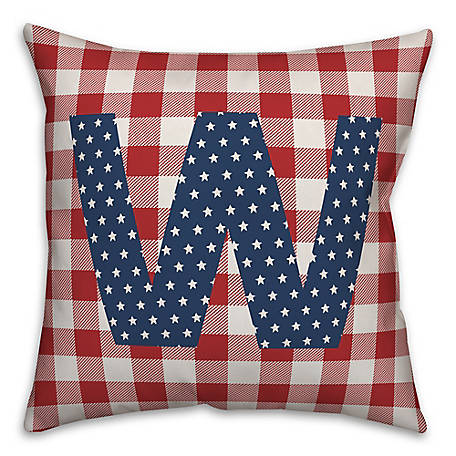 Designs Direct Check Monogram, W, 18 x 18 Indoor/Outdoor Throw Pillow 5524-Y23