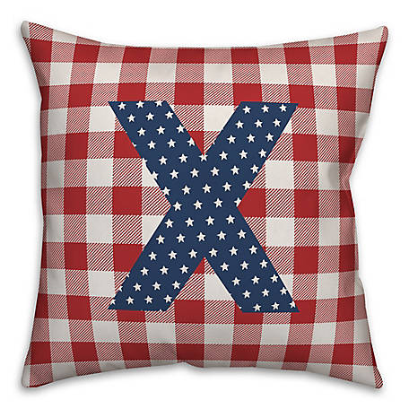 Designs Direct Check Monogram, X, 18 x 18 Indoor/Outdoor Throw Pillow 5524-Y24