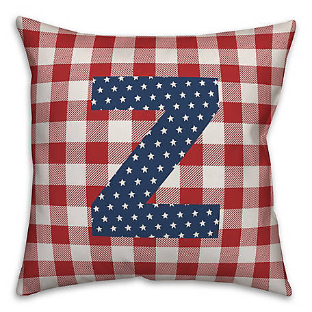 Designs Direct Check Monogram Z Indoor/Outdoor Throw Pillow, 18 x 18 in., 5524-Y26
