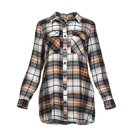 Como Vintage Women's Long Sleeve Brushed Woven Plaid Shirt, C2U099TSC