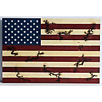 TX USA Corporation Wood Burning Flag Wall Decor Red/Blue M21755