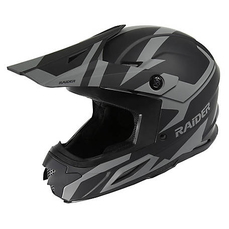 Raider Z7 Adult MX Helmet-Black/Silver, S, 2111913