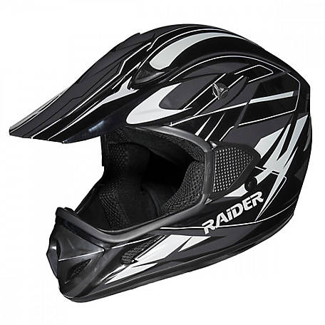 Raider RX1 Adult MX Helmet, Silver/Black, XL, 2121916