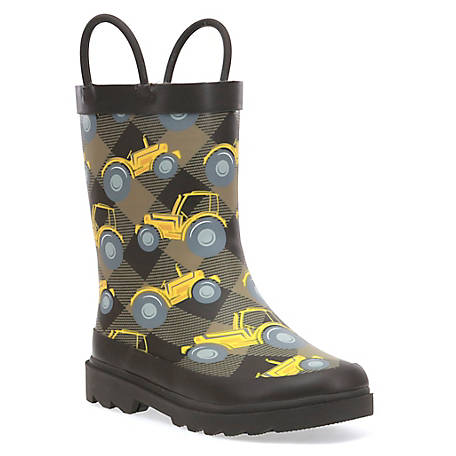 Western Chief Boys' Tractor Plaid Rain Boot