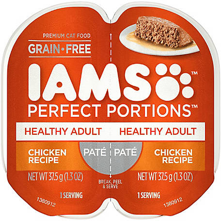 Iams PERFECT PORTIONS Grain Free Adult Wet Cat Food Pate Chicken Recipe, 2.6 oz. Twin-Pack Tray, 2.6 oz.
