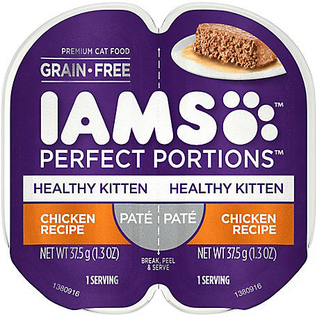 Iams PERFECT PORTIONS Grain Free Kitten Wet Food Pate Chicken Recipe, 2.6 oz. Twin-Pack Tray, 2.6 oz.