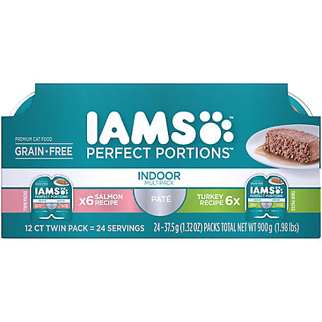 Iams PERFECT PORTIONS Adult Indoor Cat Grain Free Wet Cat Food Pate Salmon and Turkey 12 ct. Variety Pack, 2.6 oz, 1.98 lb.