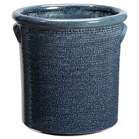Red Shed Blue Ceramic Crock