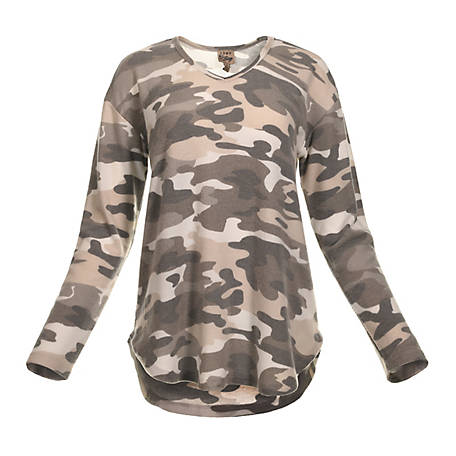 Como Vintage Women's Long Sleeve Vneck Camo Popover Shirt, CS10064TSC