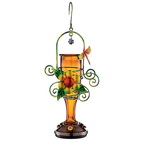 Royal Wing Orange Hummingbird Feeder with Metal Flower, EX190130O