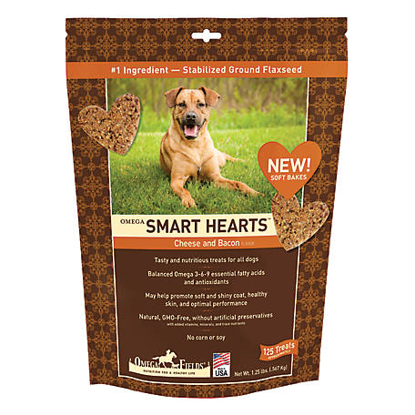 Omega Fields Smart Hearts Cheese Bacon Treat OSHC&B, 1.25 lb., Approximately 125 Treats